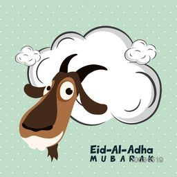 Illustration of a Goat Face with blank frame, Vector greeting card design for Muslim Community, Festival of Sacrifice, Eid-Al-Adha Mubarak.