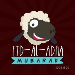 Muslim Community, Festival of Sacrifice, Eid-Al-Adha Celebration with illustration of a Sheep Face on abstract rays background. Vector greeting card design.