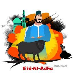 Muslim Community, Festival of Sacrifice, Eid-Al-Adha Mubarak with illustration of Butcher and Sheep on colorful abstract paint stroke background.