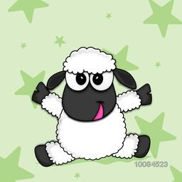 Cartoon of a cute Baby Sheep on stars decorated background for Muslim Community, Festival of Sacrifice, Eid-Al-Adha Celebration. Vector illustration.