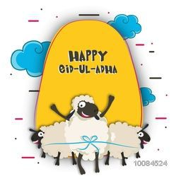 Muslim Community, Festival of Sacrifice, Eid-Al-Adha Celebration with creative paper cutout of Sheep on cloudy background. Vector greeting card design.
