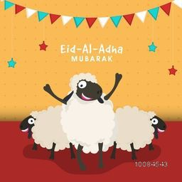Muslim Community, Festival of Sacrifice, Eid-Al-Adha Mubarak with illustration of Sheep, Vector greeting card design.