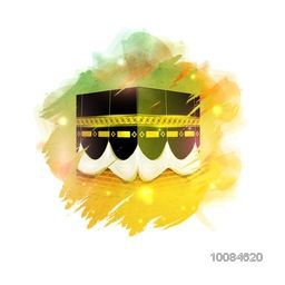 Glossy illustration of Kaaba, Mekkah. Islamic sacred Masjid-Al-Haram, Vector design with abstract paint stroke.
