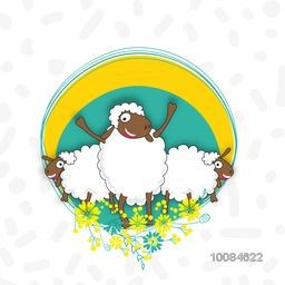 Illustration of funny Sheep with floral frame for Muslim Community, Festival of Sacrifice, Eid-Al-Adha Mubarak. Vector greeting card design.