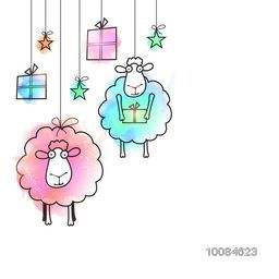 Creative illustration of Sheep, Gifts and Stars hanging on white background, Vector greeting card for Muslim Community, Festival of Sacrifice, Eid-Al-Adha Mubarak.