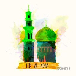 Vector illustration of Mosque made by colorful paint stroke for Muslim Community, Festival of Sacrifice, Eid-Al-Adha Mubarak.