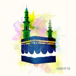 Illustration of Kaaba, Mekkah. Islamic sacred Masjid-Al-Haram on colorful splash background.