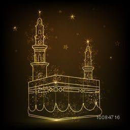 Golden Glittering, Illustration of Kaaba, Mekkah. Islamic sacred Masjid-Al-Haram on sparkling brown background.