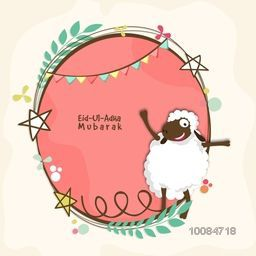 Cute Sheep with creative frame, Vector greeting card for Muslim Community, Festival of Sacrifice, Eid-Al-Adha Mubarak.