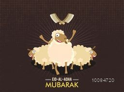 Cute funny Sheep with Cleaver Knife on vintage background for Muslim Community, Festival of Sacrifice, Eid-Al-Adha Mubarak.