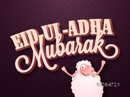 3D Text Eid-Al-Adha Mubarak with funny Sheep on creative pattern, Vector Typographical Background for Muslim Community, Festival of Sacrifice Celebration.