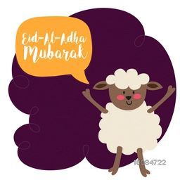Funny cute Sheep saying Eid-Al-Adha Mubarak, Vector illustration for Muslim Community, Festival of Sacrifice Celebration.