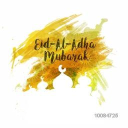 Creative Mosque with Text Eid-Al-Adha Mubarak on abstract paint stroke for Muslim Community, Festival of Sacrifice Celebration.