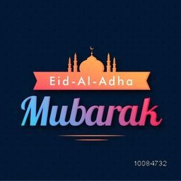 Glossy Text Eid-Al-Adha Mubarak with Mosque, Vector greeting card for Muslim Community, Festival of Sacrifice Celebration.