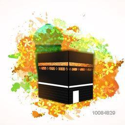 Illustration of Kaaba, Mekkah. Islamic sacred Masjid-Al-Haram with colorful abstract splash, flowers and Mosque.