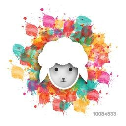 Cute Baby Sheep Face on colorful splash for Muslim Community, Festival of Sacrifice, Eid-Al-Adha Mubarak.