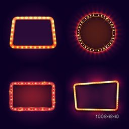 Blank marquee Frame with illuminated light bulb, Vector illustration.