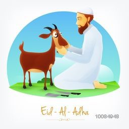 Illustration of a Butcher with Cleaver Knife and Goat on nature background for Muslim Community, Festival of Sacrifice, Eid-Al-Adha Mubarak.