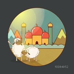 Cartoon of funny Sheep in front of colorful Mosque, Vector illustration for Muslim Community, Festival of Sacrifice, Eid-Al-Adha Mubarak.