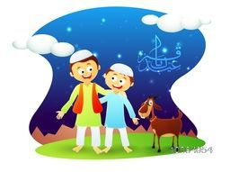 Cute happy Islamic Kids with Goat on nature background, Vector illustration with glossy Arabic Calligraphy Text Eid-E-Qurba for Muslim Community, Festival of Sacrifice Celebration.