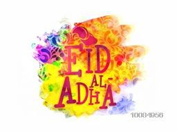 Vector Eid-Al-Adha Typography with Goat Face on colourful abstract background, Creative greeting card for Muslim Community, Festival of Sacrifice Celebration.