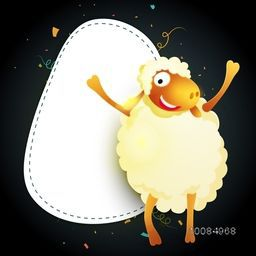 Illustration of a Sheep with blank message board, Vector greeting card for Muslim Community, Festival of Sacrifice, Eid-Al-Adha Mubarak.