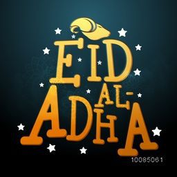 Glossy Text Eid-Al-Adha with Goat Face on stars decorated background, Vector Typographical illustration for Muslim Community, Festival of Sacrifice Celebration.