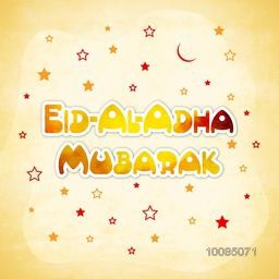 Vector greeting card with Stars and Moon for Muslim Community, Festival of Sacrifice, Eid-Al-Adha Mubarak.