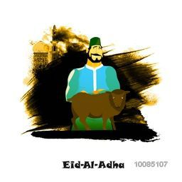 Illustration of a Butcher with Sheep on abstract paint stroke, Mosque background for Muslim Community, Festival of Sacrifice, Eid-Al-Adha Mubarak.