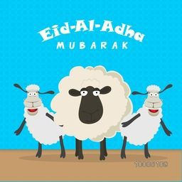 Illustration of funny dancing Sheep for Muslim Community, Festival of Sacrifice, Eid-Al-Adha Mubarak. Vector illustration.