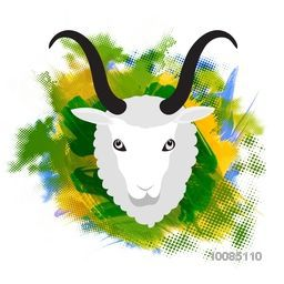 Illustration of Sheep Face on colorful abstract paint stroke for Muslim Community, Festival of Sacrifice, Eid-Al-Adha Mubarak. Vector design.