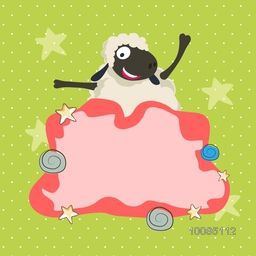 Illustration of a funny Sheep with blank frame, Vector greeting card design for Muslim Community, Festival of Sacrifice, Eid-Al-Adha Mubarak.