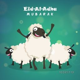 Muslim Community, Festival of Sacrifice, Eid-Al-Adha Mubarak with illustration of Sheep on shiny background, Vector greeting card design.