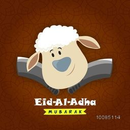 Illustration of Sheep Face with Cleaver Knifes on glossy pattern, Vector greeting card design for Muslim Community, Festival of Sacrifice, Eid-Al-Adha Mubarak.