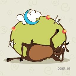 Illustration of a funny Goat with Stars and Moon decorated frame, Vector greeting card for Muslim Community, Festival of Sacrifice, Eid-Al-Adha Mubarak.