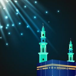 Glossy illustration of Kaaba, Mekkah. Islamic sacred Masjid-Al-Haram, Shining in glossy lights, Vector design.