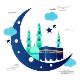 Glossy Crescent Moon with Masjid and Kaaba, Mekkah for Muslim Community Festivals Celebration.