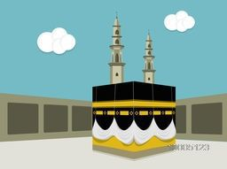 Illustration of Kaaba, Mekkah. Islamic sacred Masjid-Al-Haram, Vector flat design.