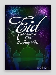 Creative Mosque on fireworks decorated background, Elegant Pamphlet, Banner, Flyer or Invitation for Islamic Holy Festival, Eid Party celebration.