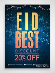 Eid Best Discount Sale, Eid Sale, Poster, Sale Banner, Sale Flyer, Sale Background, 20% Off, Vector illustration with beautiful fireworks for Muslim Community Festival celebration.
