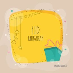 Elegant greeting card design with green gift box and space to add your wishes for Islamic Holy Festival, Eid Mubarak celebration.