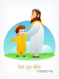 Cute little Muslim boy saying Love You Abbu to his father on nature background for Happy Father's Day celebration.
