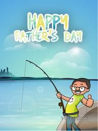 Funny cartoon of a man fishing on the river from boat on city view background, concept for Happy Father's Day celebration.