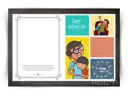 Colorful stylish greeting card with father and son for Happy Father's Day celebration concept.