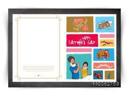 Creative colorful greeting card decorated with various elements for Happy Father's Day celebration.