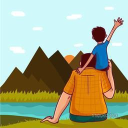 Cute little boy sitting on his father's shoulder on nature view background for Happy Father's Day celebration.