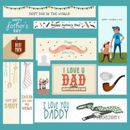 Social media post and header set with various elements for Happy Father's Day celebration.