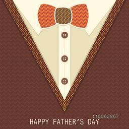 Creative greeting card design in beautiful shirt shape with bow for Happy Father's Day celebration.