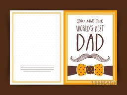 World's Best Dad greeting card design with mustache and bow for Happy Father's Day celebration.