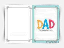 Elegant greeting card with colorful text Dad for Happy Father's Day celebration.